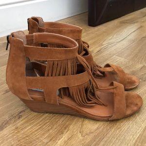 Super fun frayed wedge sandals.